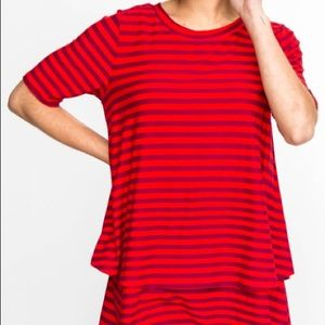 Tiered Tunic 1/2 Sleeve Dark Red Stripes by A&D